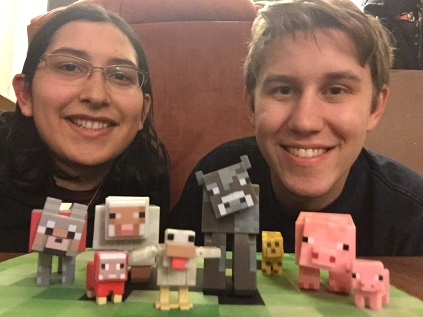 Ellie and Cory with Minecraft toys